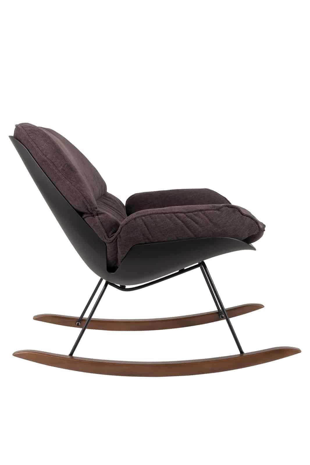 dark puffy rocking chair side angle