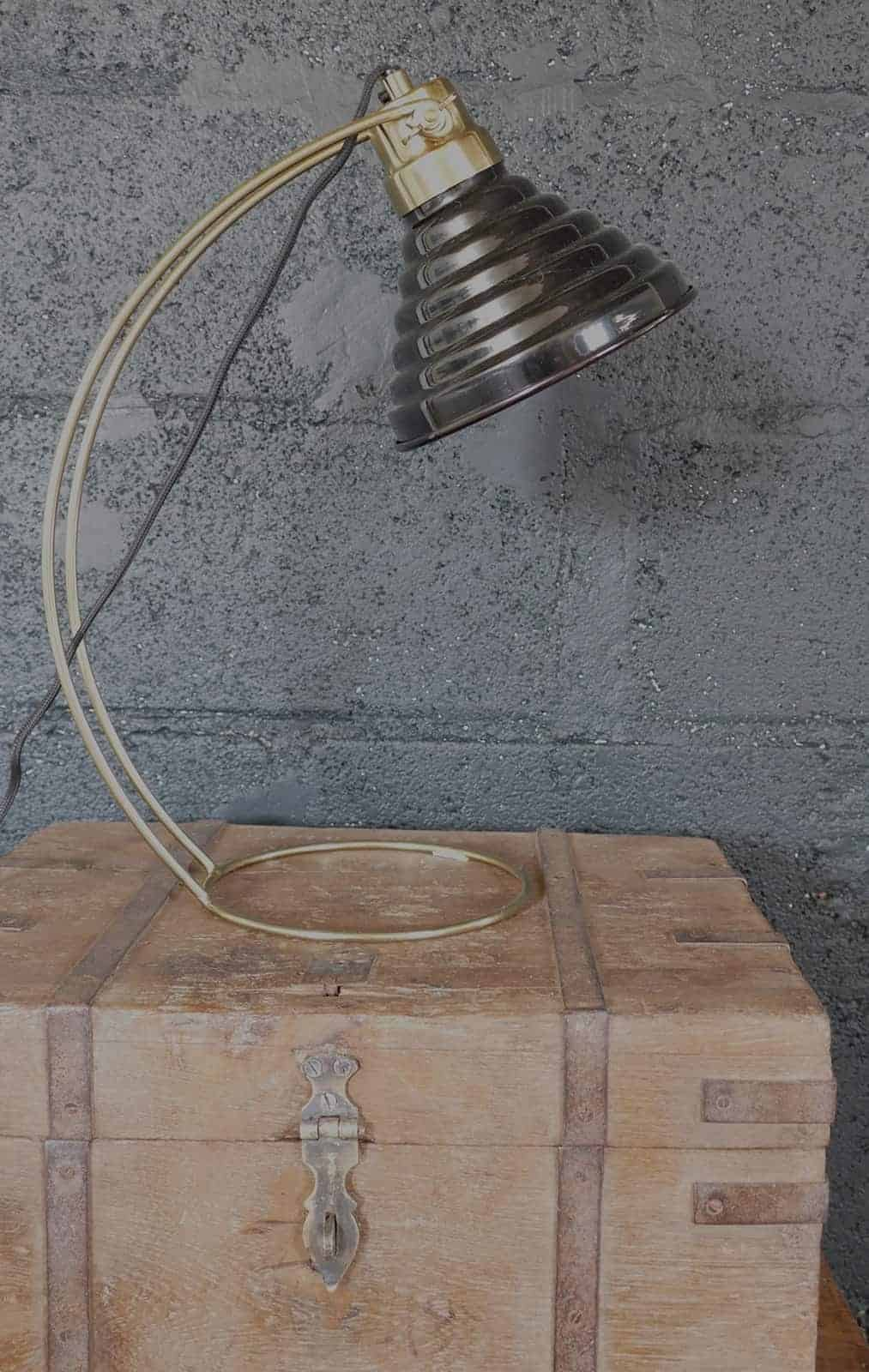 retro lamp shade on chest side view