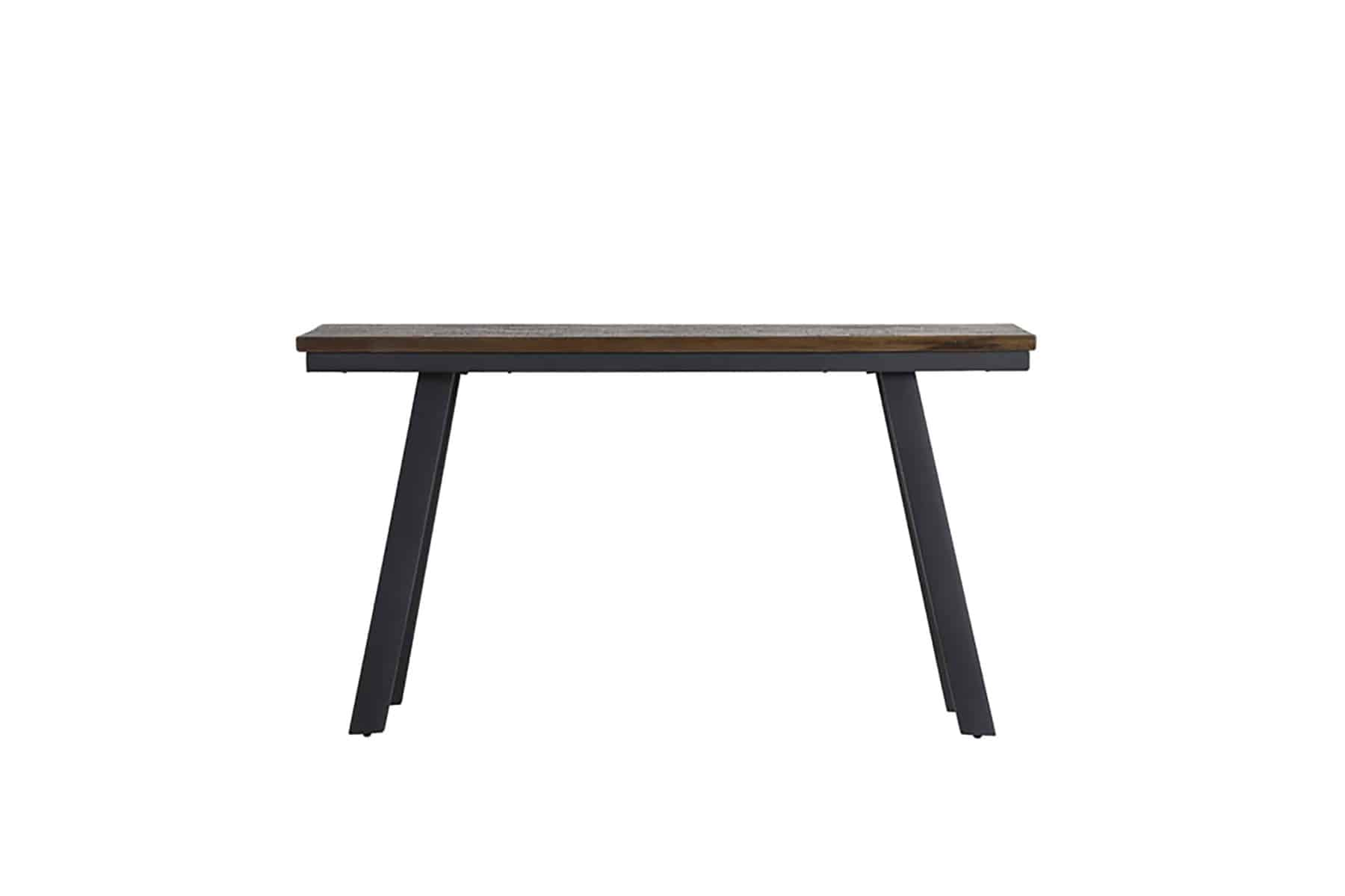 grey wood table with black legs