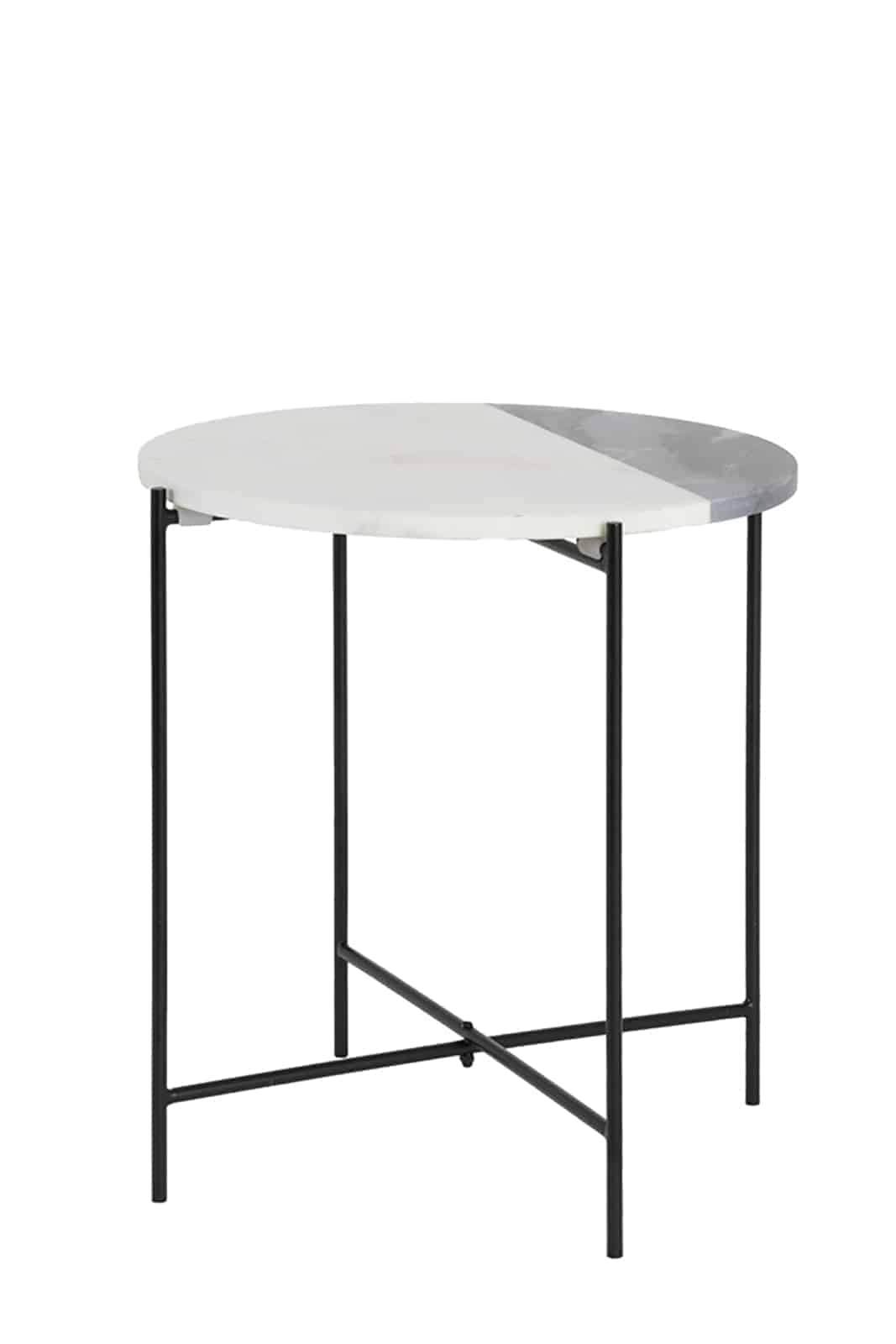 quillon marble side table with black legs