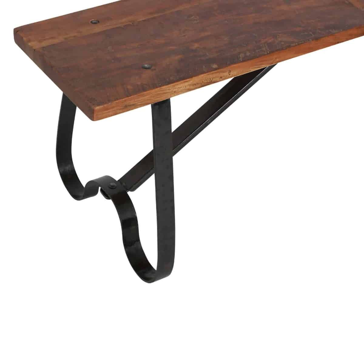 curved leg of wooden facory bench