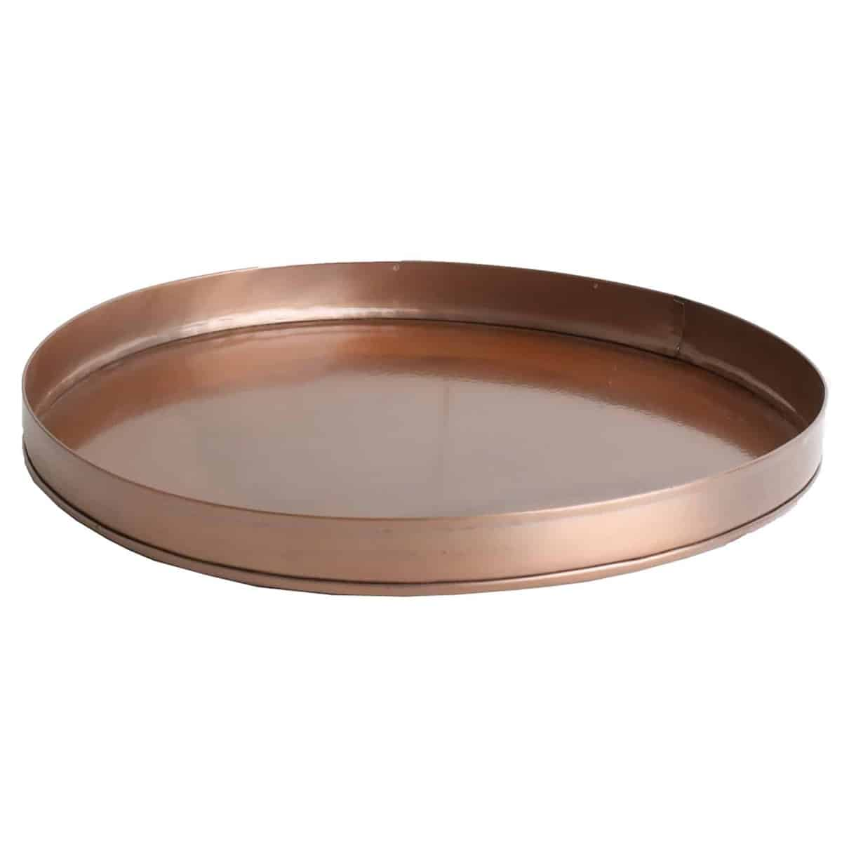 angle view of copper round tray