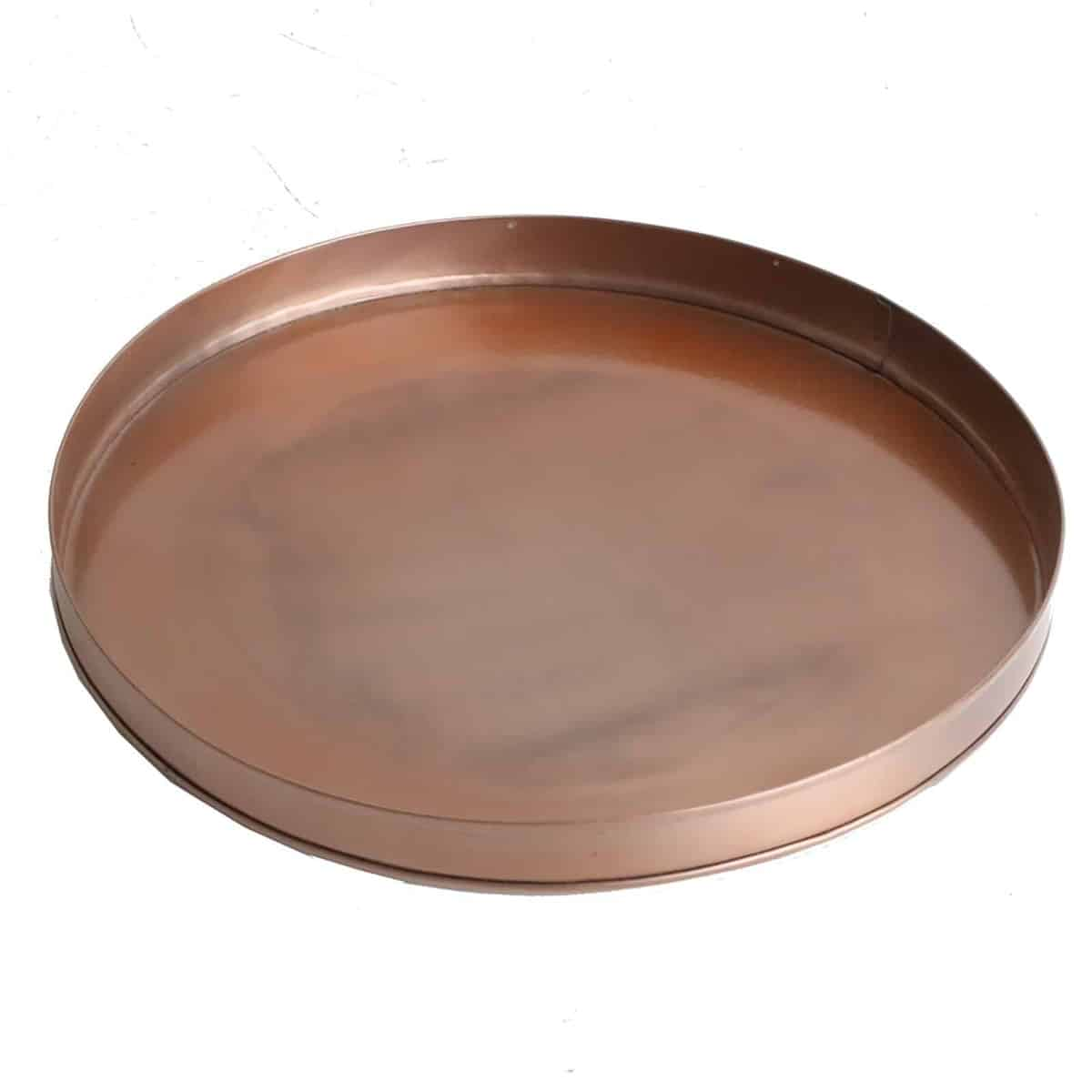 top view of copper round tray