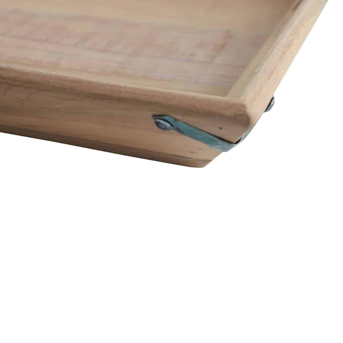 corner of wooden serving tray