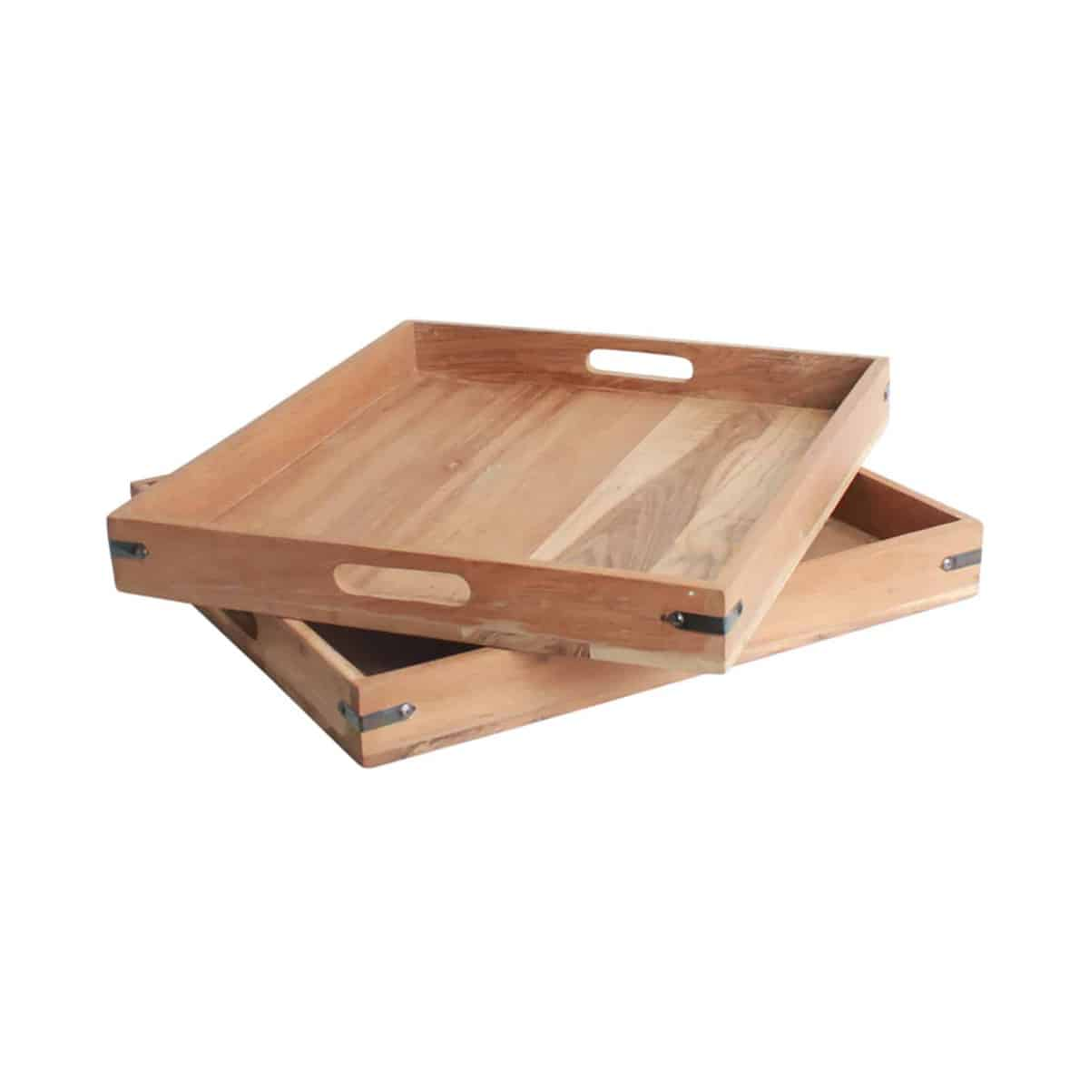 two teakwood trays on top of one another
