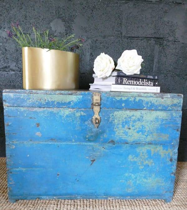 blue chest with books on top