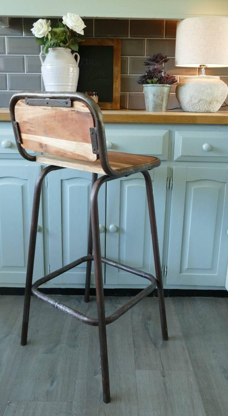 iron bar stool at counter