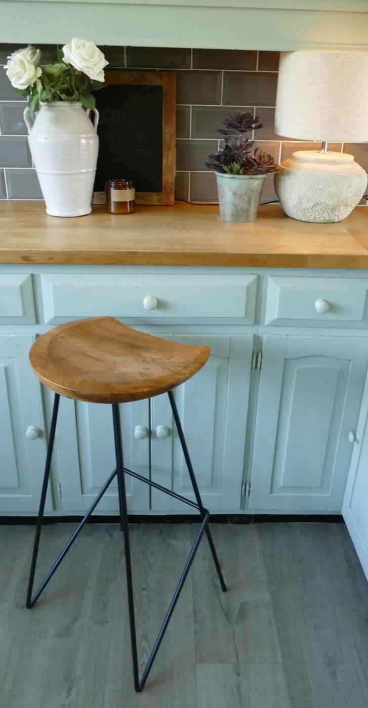 teak bar stool at counter