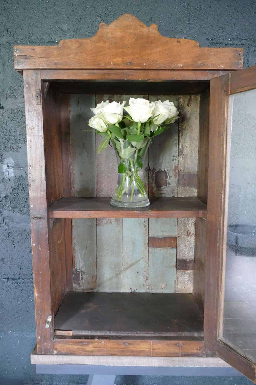 medicine box cabinet with roses