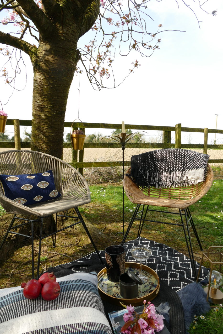 outdoor chair with blanket