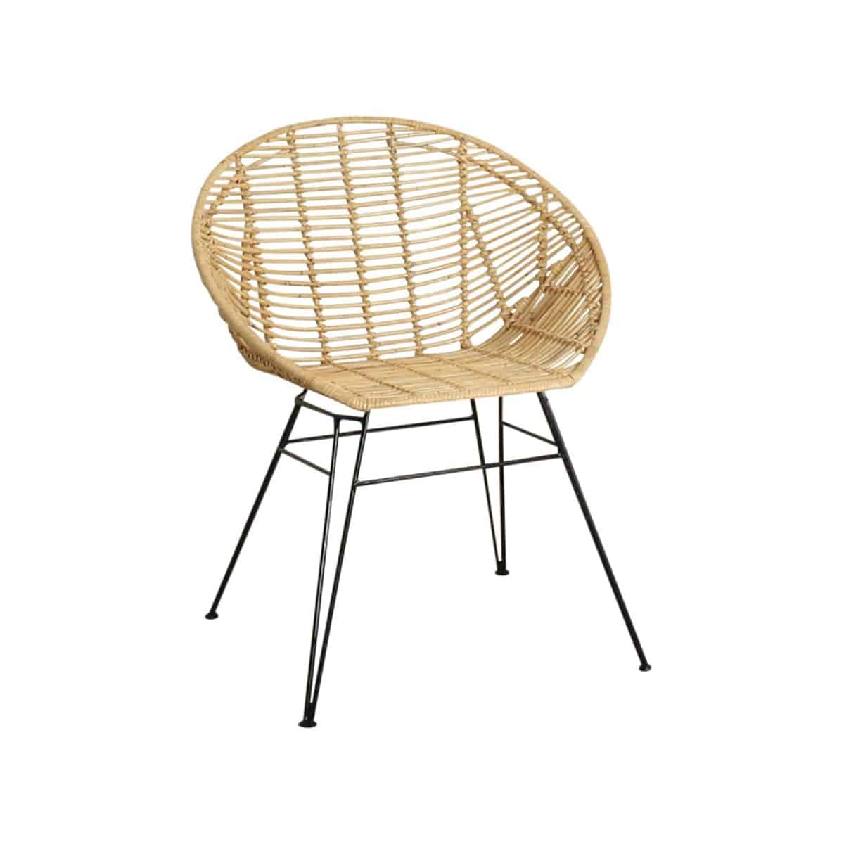Jane bucket chair with metal legs