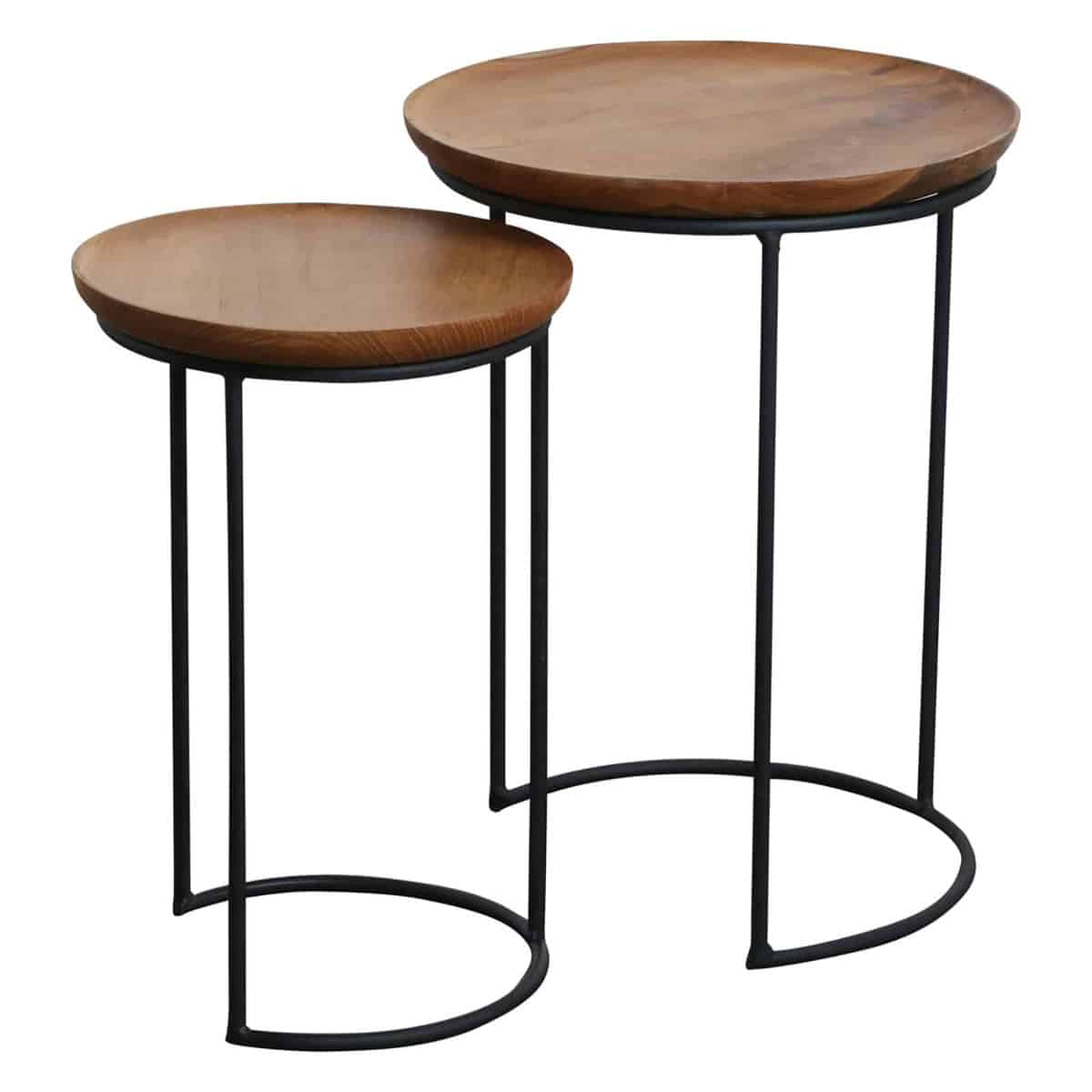Double nesting wooden side tables