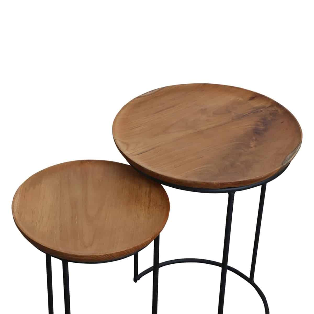Double nesting wooden side tables separated