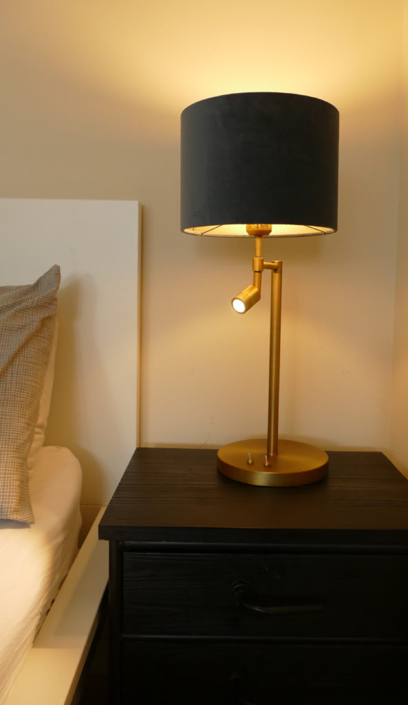 montana antique bronze reading light on side table