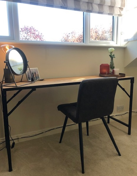 foldable work desk with small round mirror