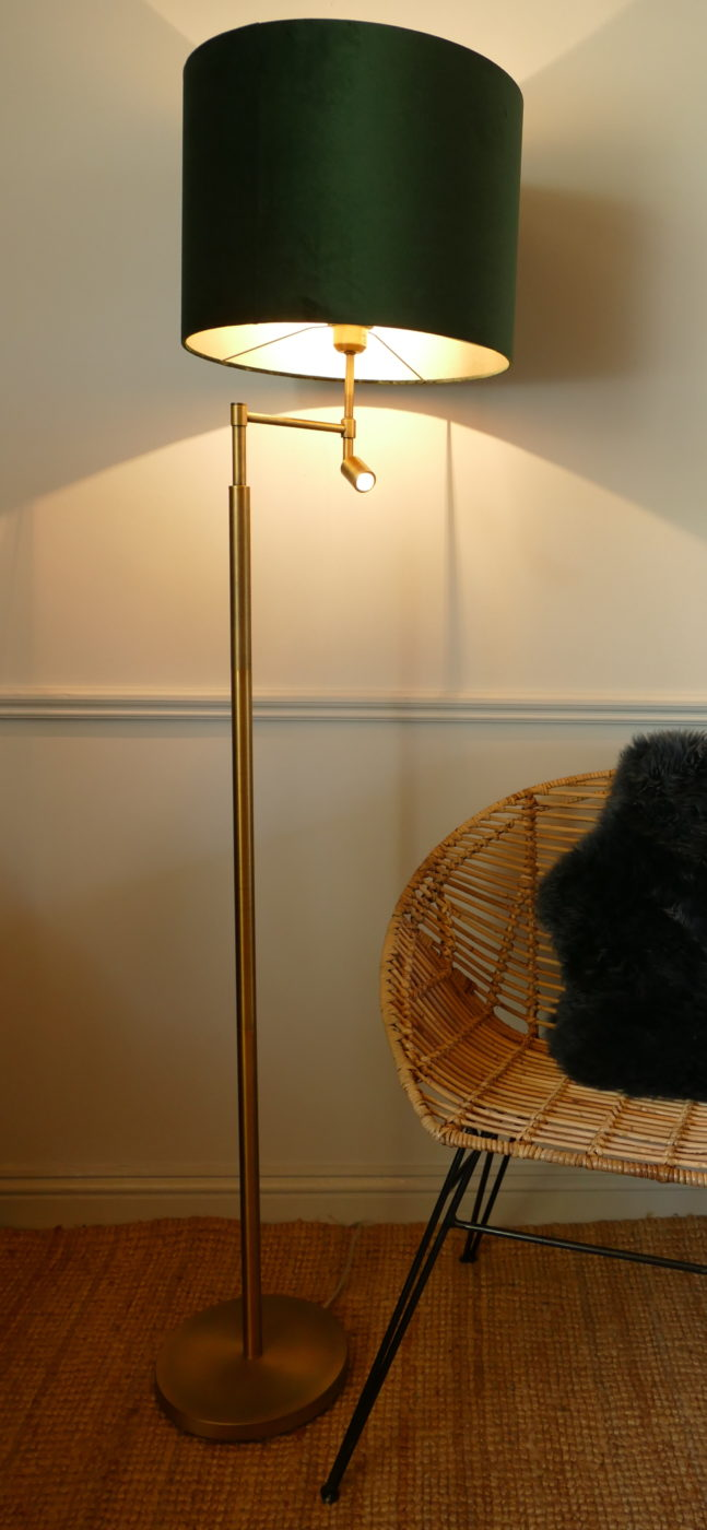 montanta antqiue bronze floor lamp and shade