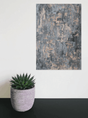 grey and gold mixed abstract painting and plant
