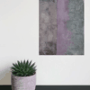 Lilac and grey abstract painting with plant