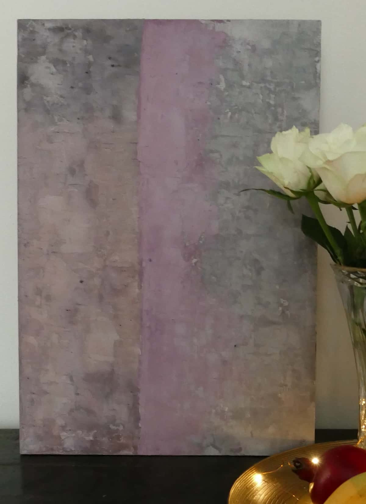 lilac and grey abstract painting close up
