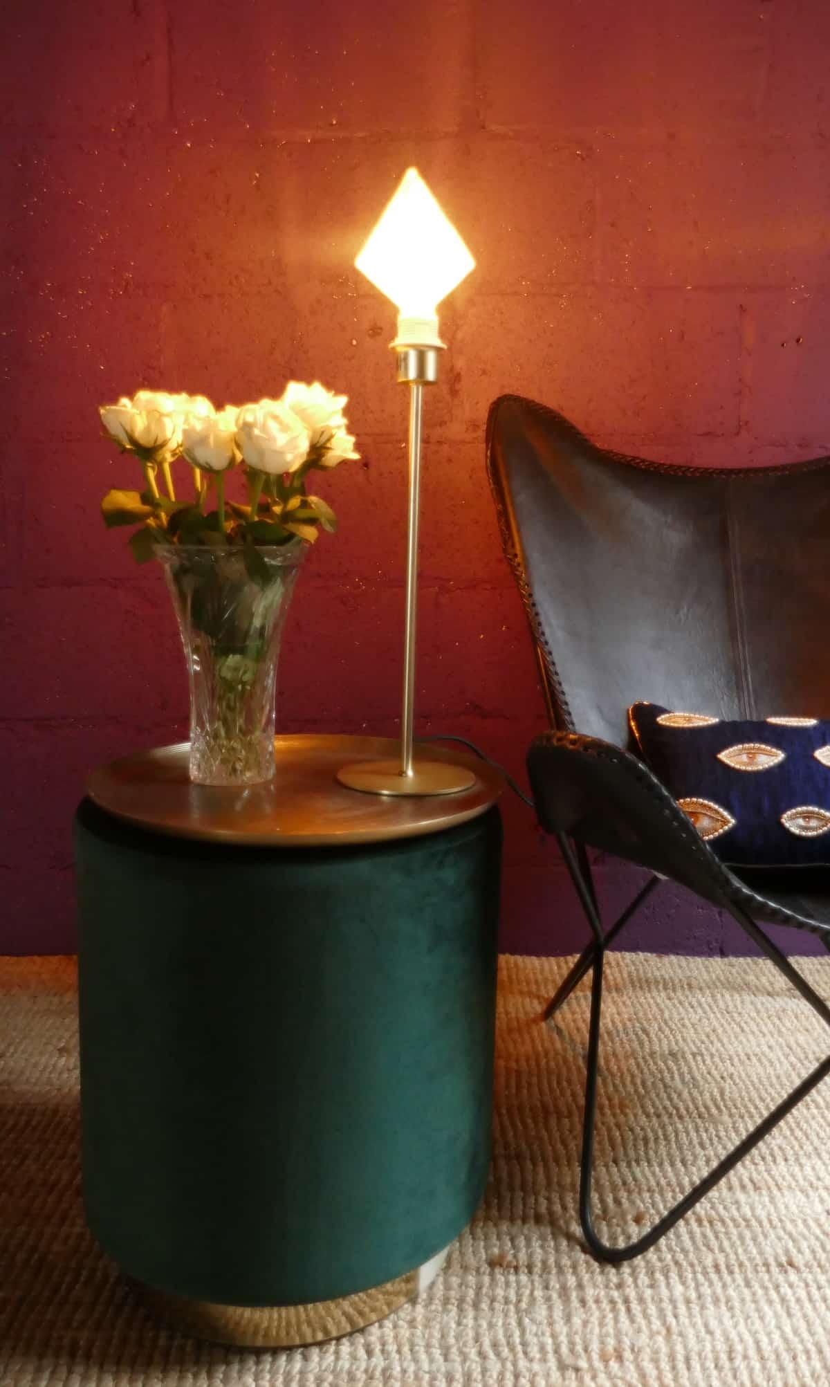 green velvet stool and diamond lamp