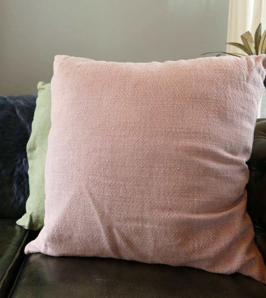 pink twill square cushion