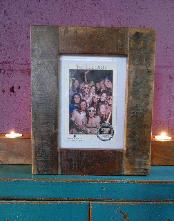 wooden photo frame with photo