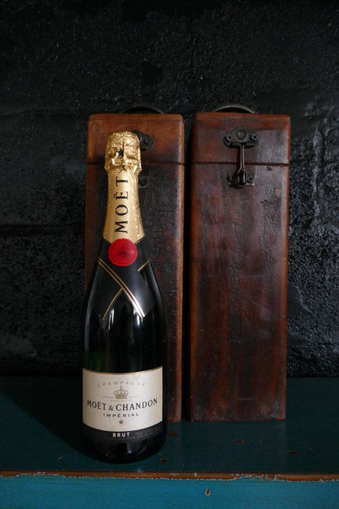 champagne box with moet