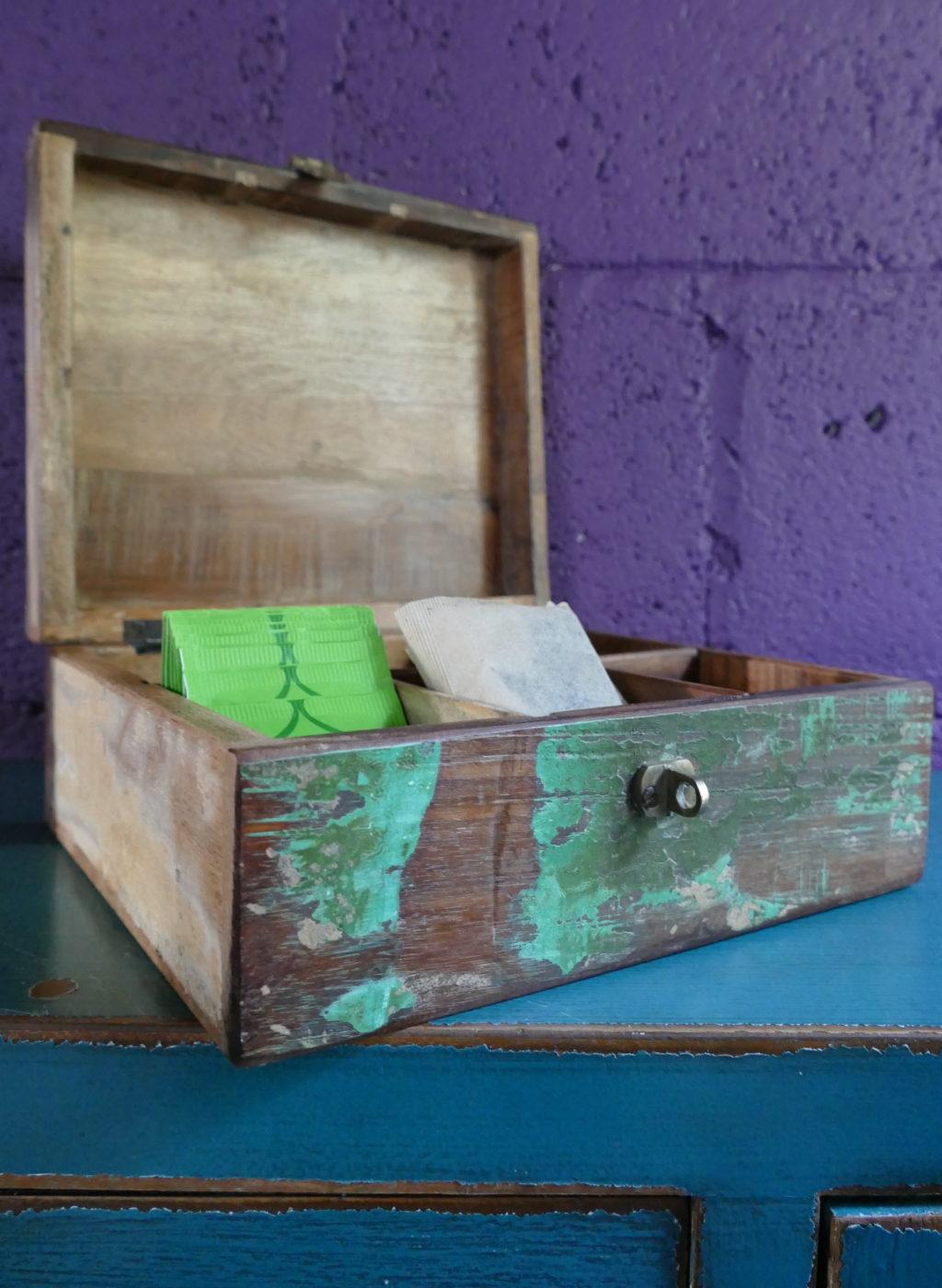 Distressed Wooden Tea Storage Box