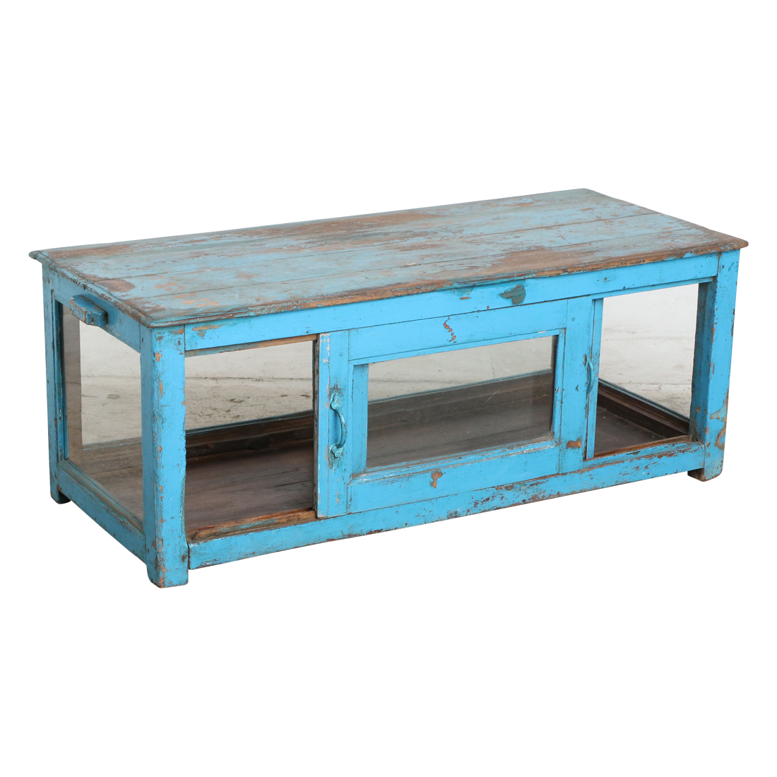 blue coffee table on clear background