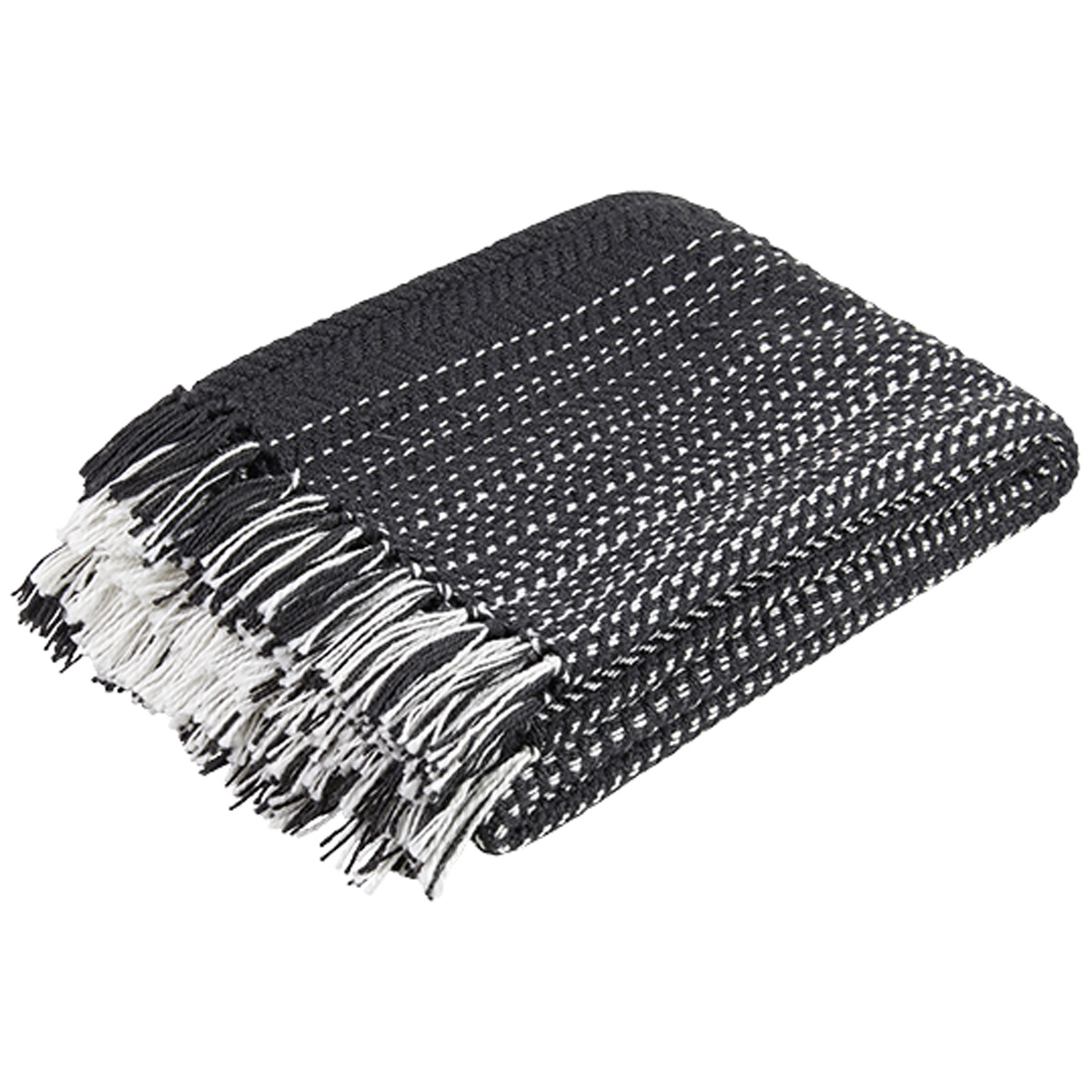 black and white throw with tassles