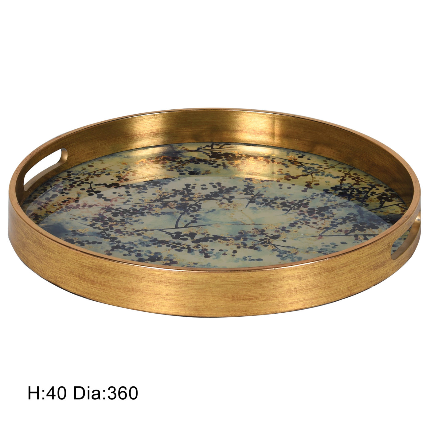 gold tray with flower design