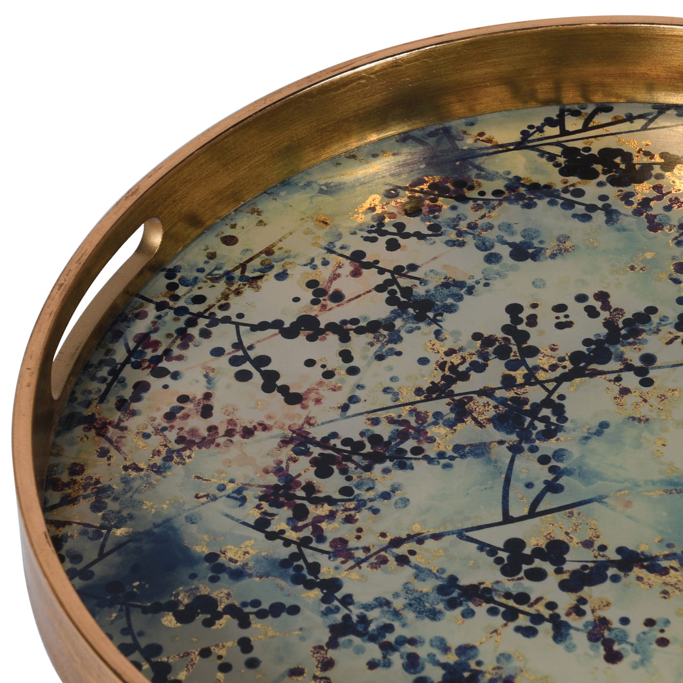 close up gold tray with flower design