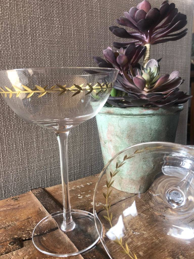 clear martini glasses with gold leaves