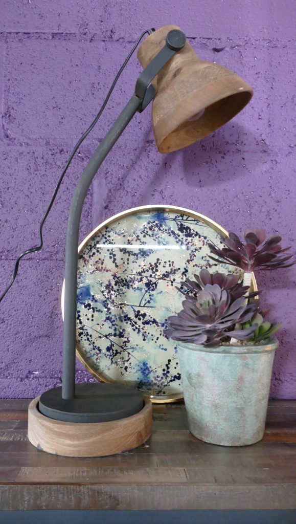 wooden lamp and rustic flower pot