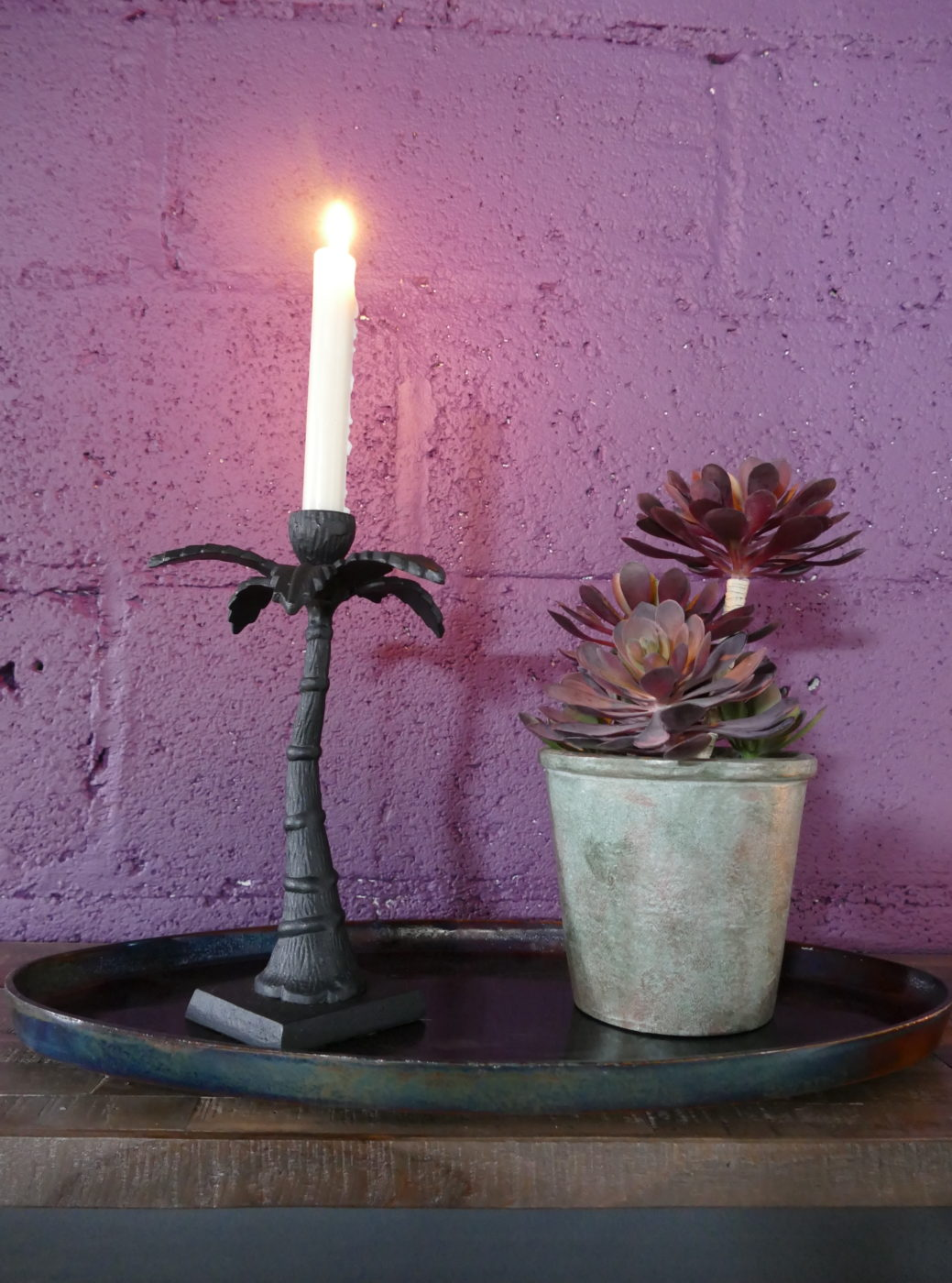 palm candle stick and rustic flower pot