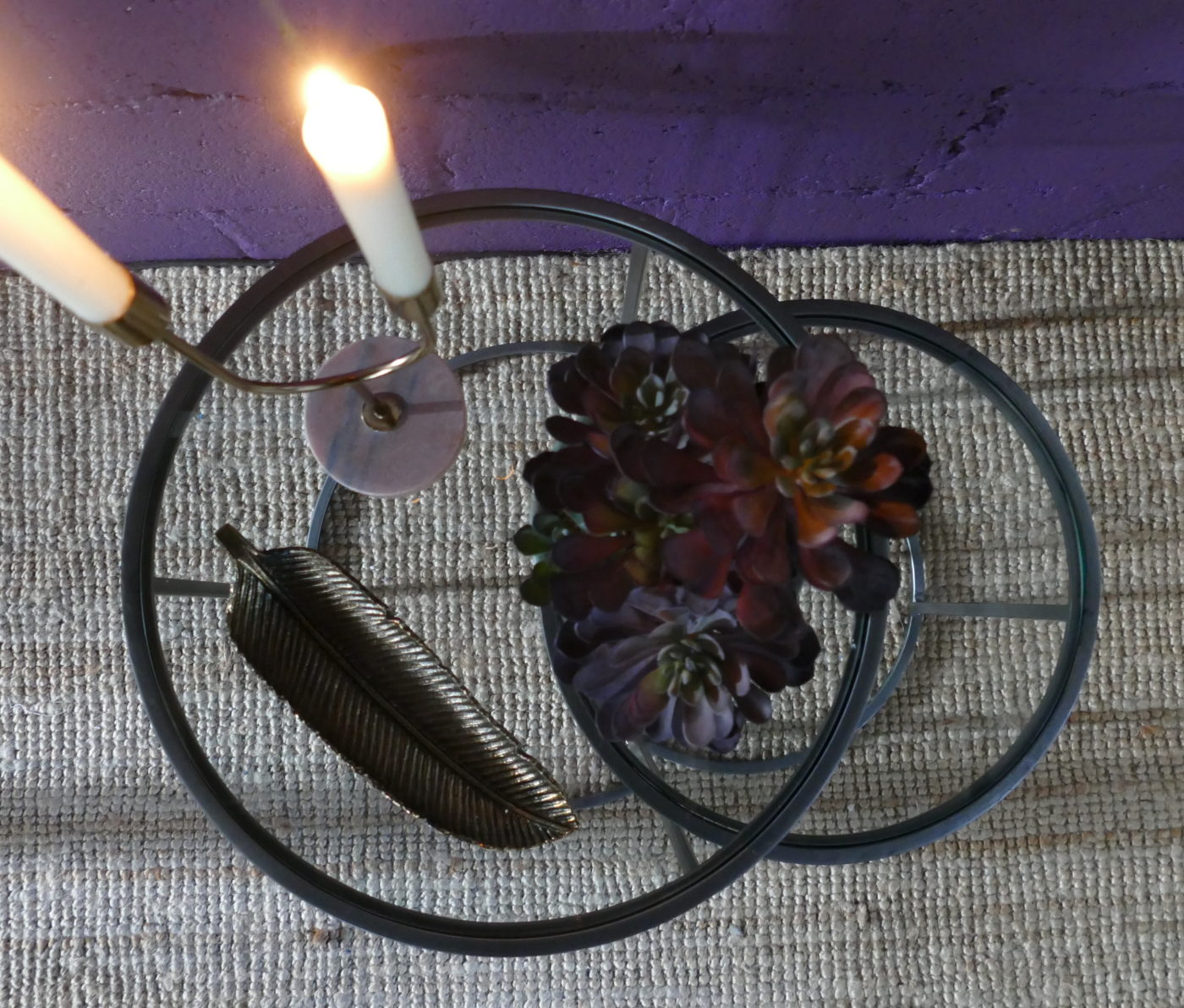 vintage tin side tables with candles