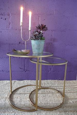 DURATE SET:2 SIDE TABLES (ANTIQUE GOLD)