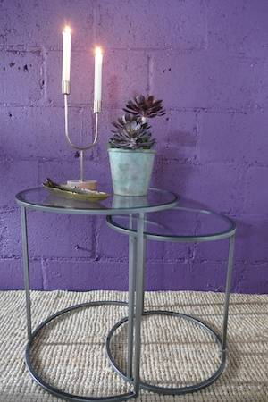 DURATE SET:2 SIDE TABLES (VINTAGE TIN)