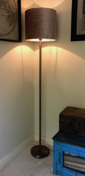 washington rose gold floor lamp with shade turned on
