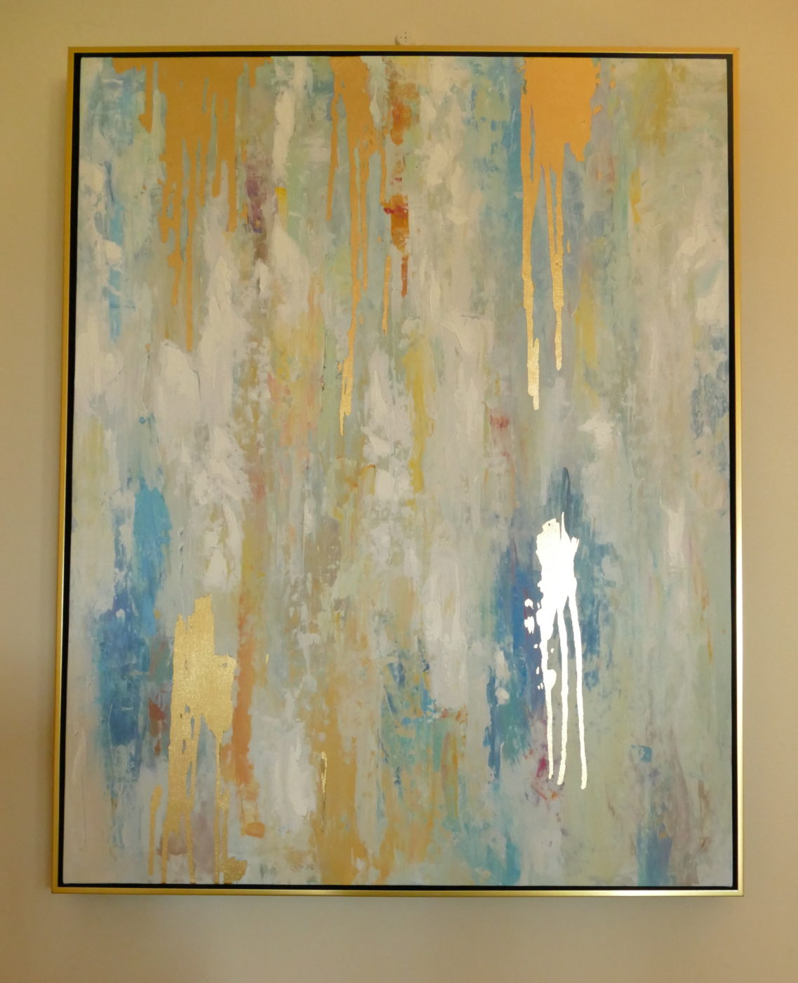 gold grey and blue abstract wall art