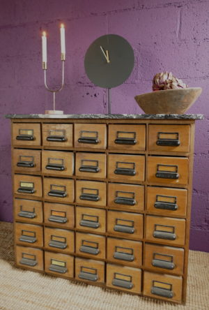 apothecary chest with ornaments