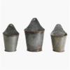 three zinc half hanging herb buckets