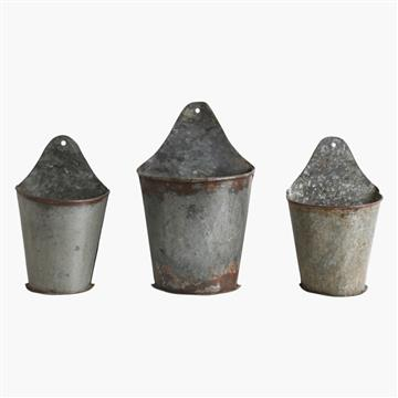 three zinc half hanging herb buckets