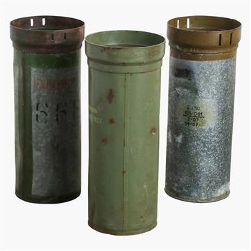 three explosive container umbrella stands