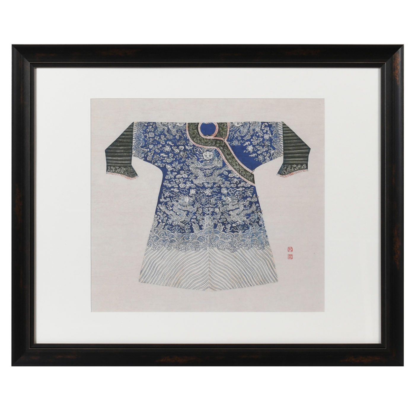 image of chinese blue coat in frame