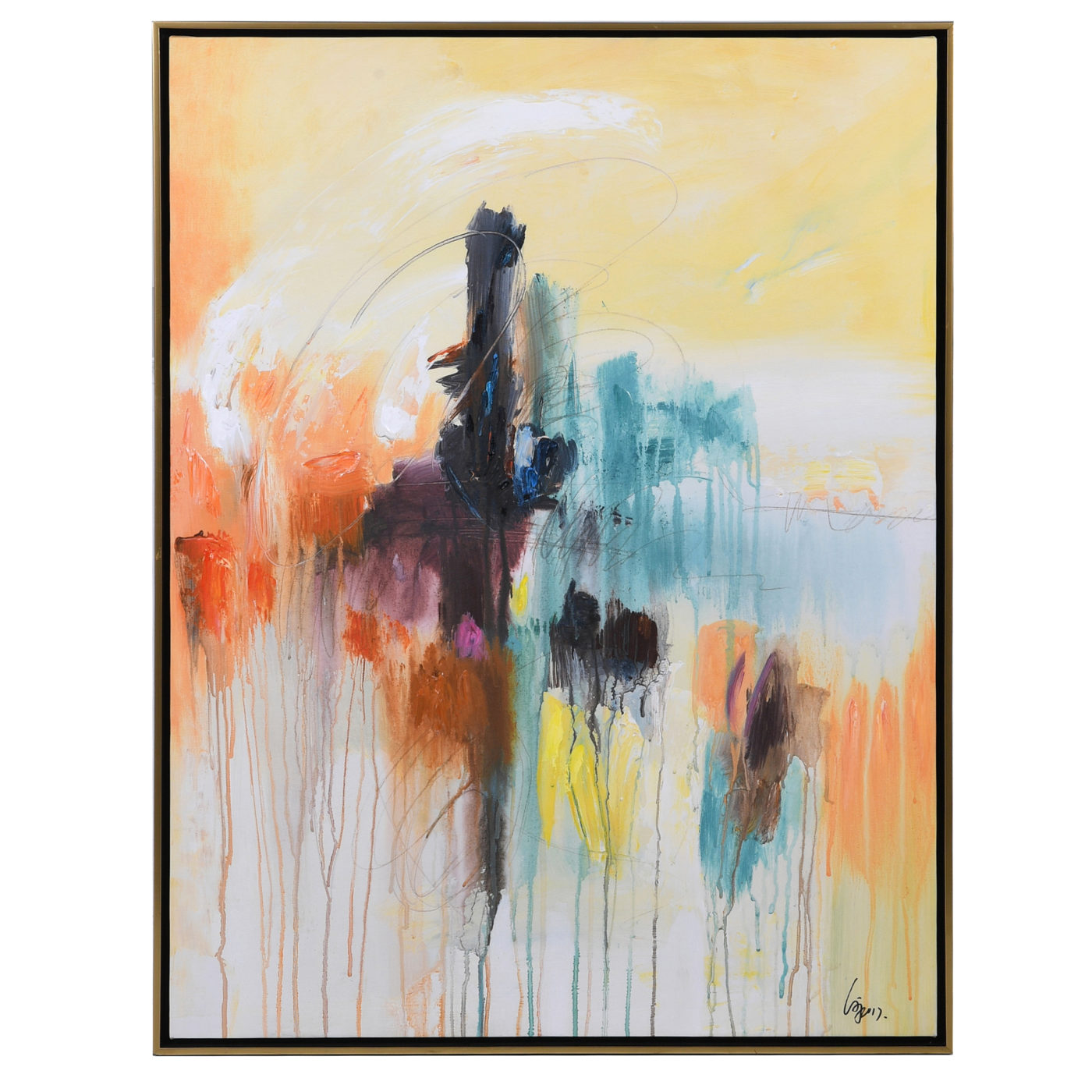 yellow, blue, orange abstract wall art in frame