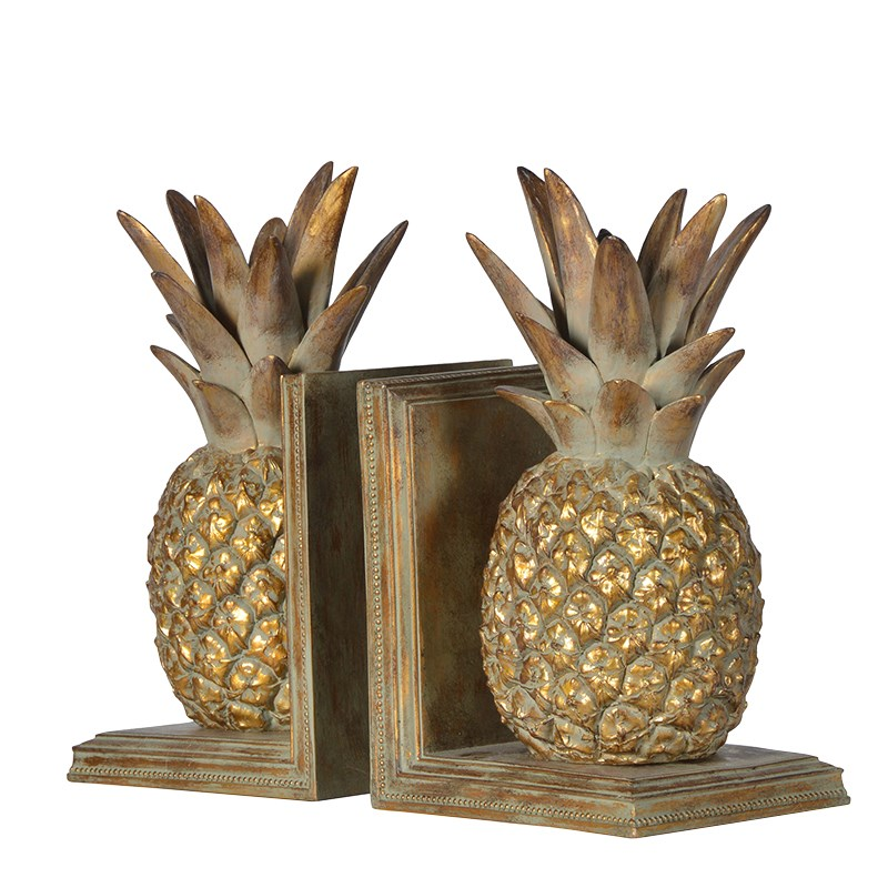 distressed design pineapple book ends