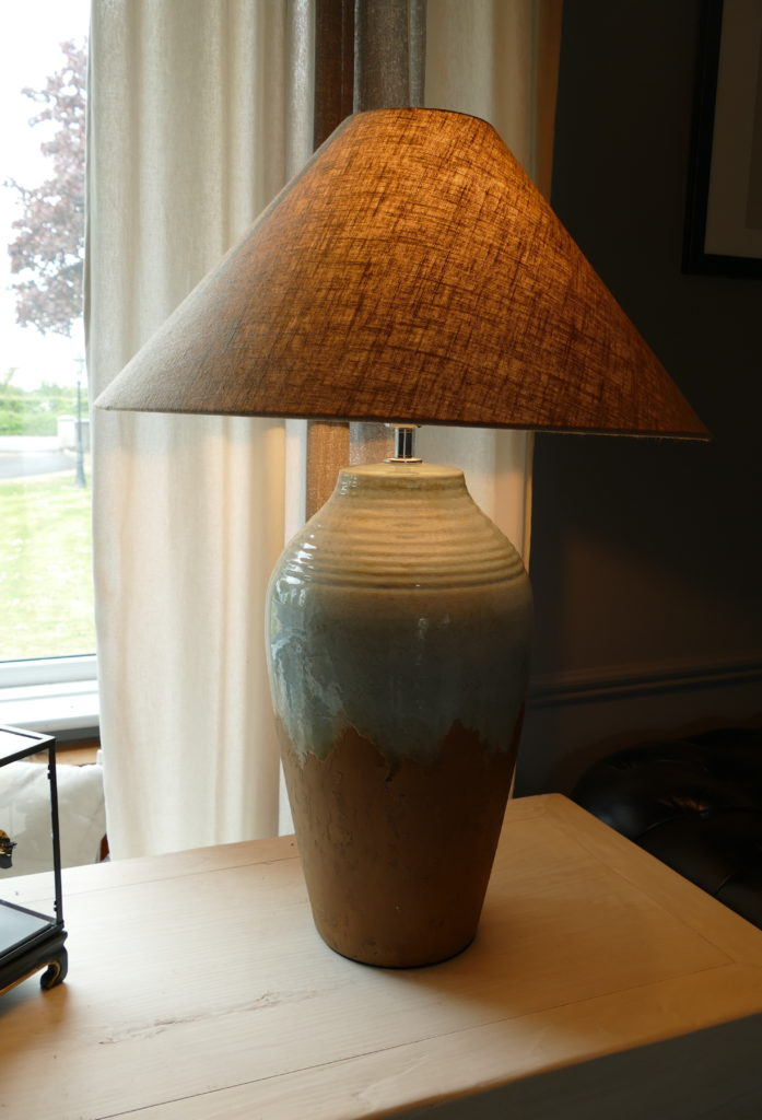 table lamp two tone on dresser