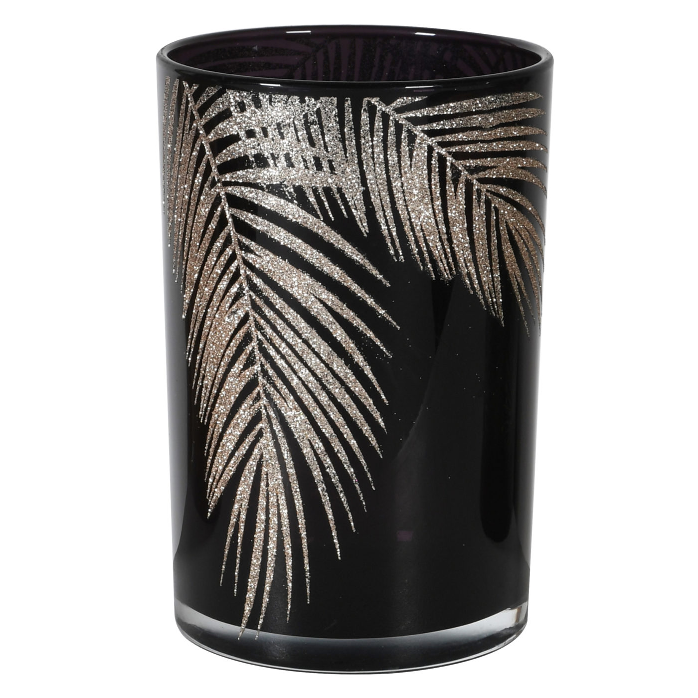black and gold glitter bamboo leaf candle holder