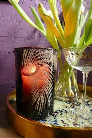 black and gold bamboo candle holder